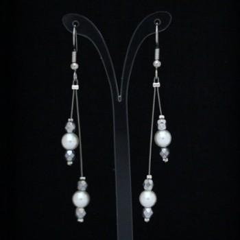 Boucles d'oreilles mariage blanc et argent BO1270B