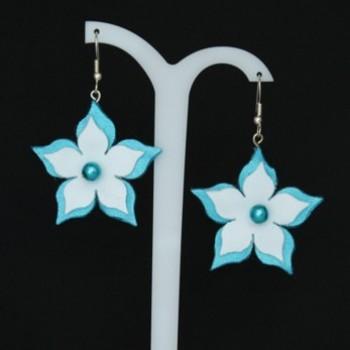 Boucles d'oreilles fleur turquoise blanc BO359