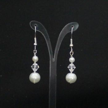 Boucles d'oreilles blanches et cristal BO4288A