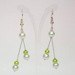 Boucles d'oreilles blanc et vert anis BO1277A