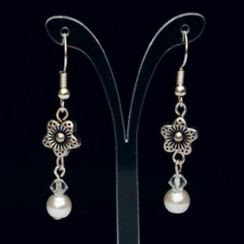 Boucles d'oreilles mariage fleurs blanc argent BO1279A