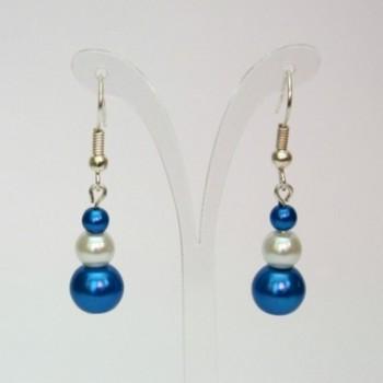 Boucles d'oreilles mariage blanc bleu royal BO4289A
