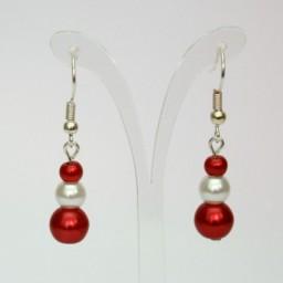 Boucles d'oreilles blanc et rouge BO1278A