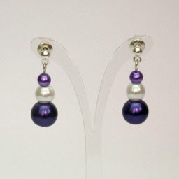 Boucles d'oreilles blanc violet BO360