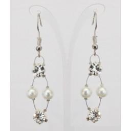 Boucles d'oreilles mariage blanc strass BO1282A