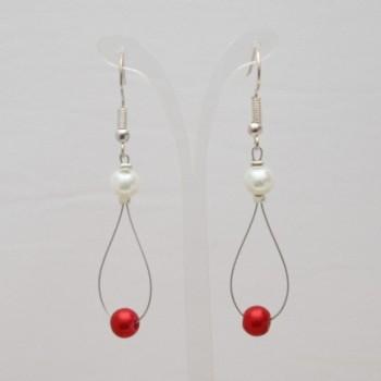 Boucles d'oreilles blanc et rouge BO1284A