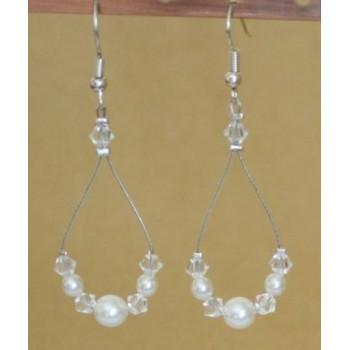 Boucles d'oreilles cristal et blanc BO1257A