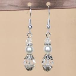 Boucles d'oreilles blanc cristal argent BO4281A