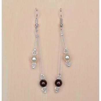 Boucles d'oreilles chocolat ivoire cristal BO1247A