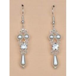 Boucles d oreilles blanc cristal et strass BO1221B