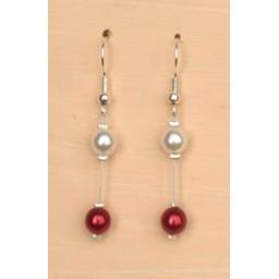Boucles d oreilles blanc et rouge BO1219A