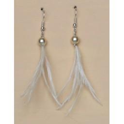 Boucles d'oreilles ivoire plumes BO1241A