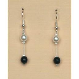 Boucles d oreilles noir et blanc BO1218B