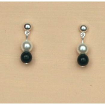 Boucles d oreilles noir et blanc BO1218C
