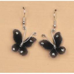 Boucles d oreilles papillon noir BO1218A