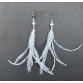 Boucles d'oreilles plumes blanc BO1244A