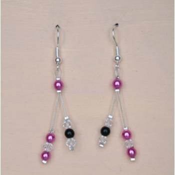 Boucles d'oreilles fuchsia et noir BO1246A