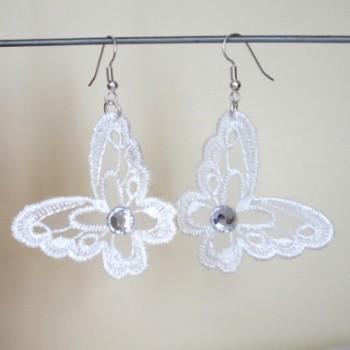 Boucles d'oreilles papillons blancs dentelle BO4282A