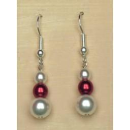 Boucles d oreilles blanc rouge BO1149A
