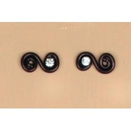 Boucles d oreilles aluminium noir et strass BOA201