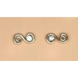Boucles d oreilles aluminium champagne et strass BOA204