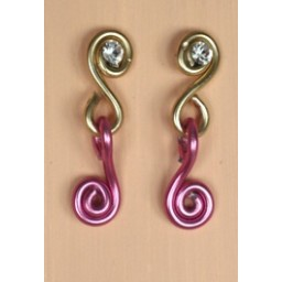 Boucles d oreilles aluminium rose et doré + strass BOA207B