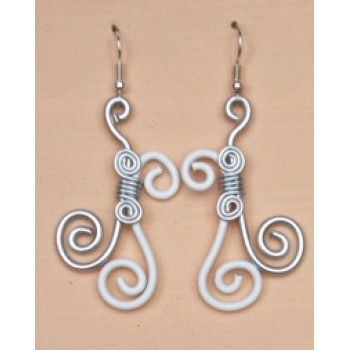 Boucles d oreilles aluminium blanc argent BOA208