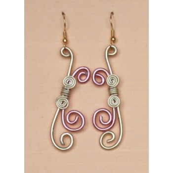 Boucles d oreilles aluminium rose pale et champagne BOA209