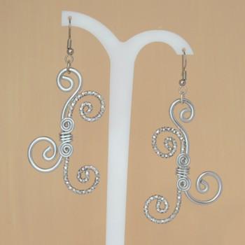 Boucles d'oreilles aluminium argent BO357