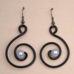 Boucles d oreilles noir et blanc BOA250