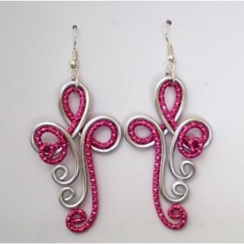 Boucles d'oreilles argent fuchsia BOA351A