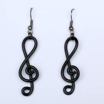 Boucles d'oreilles musique clé de sol noir BOA337