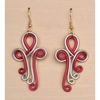 Boucles d oreilles rouge et champagne BOA240