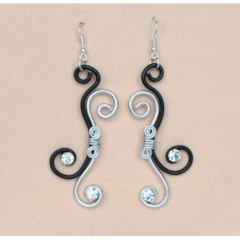 Boucles d'oreilles noir et argent + strass BOA300