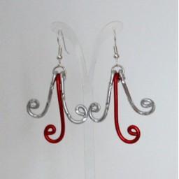 Boucles d'oreilles rouge argent BOA349
