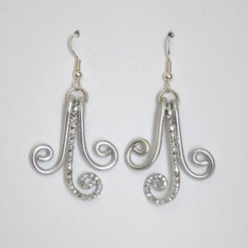 Boucles d'oreilles aluminium argentées BOA348