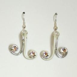 Boucles d'oreilles mariage blanc argent strass BOA339