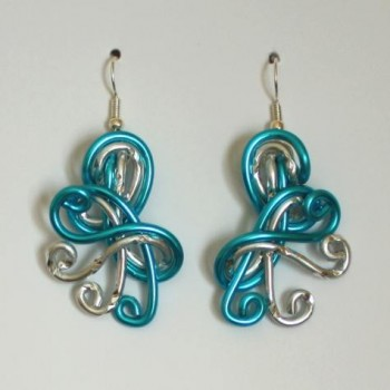 Boucles d'oreilles mariage argent turquoise  BOA338