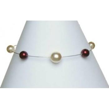 Bracelet mariage perles ivoire et bordeaux BR1135A