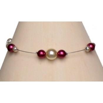Bracelet perles ivoire et bordeaux BR1140A