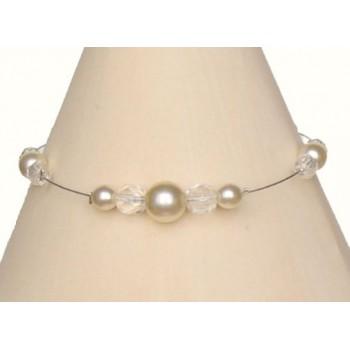 Bracelet perles ivoire et cristal BR1142Z