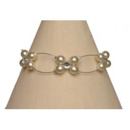 Bracelet perles ivoire et strass BR1143B