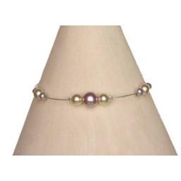 Bracelet perles ivoire et parme BR1148A