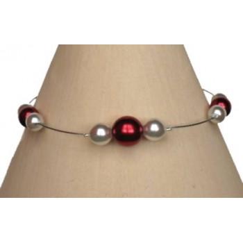 Bracelet perles rouge et blanc BR1149A