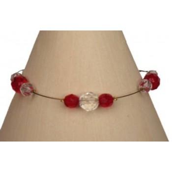 Bracelet fantaisie rouge et cristal BR1152A