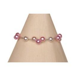 Bracelet perles blanc et rose BR1153A
