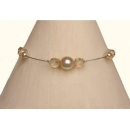Bracelet perles ivoire et beige BR1159A