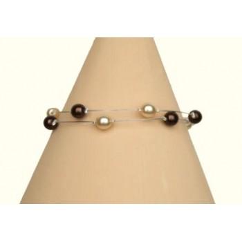 Bracelet perles ivoire et chocolat BR1165B
