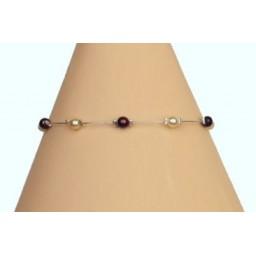 Bracelet perles ivoire et chocolat BR1165C
