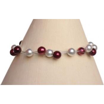 Bracelet perles blanc et bordeaux BR1166A